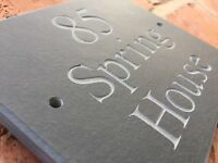 "Quality Rustic Riven Slate House sign plaque 6"" x 5""  ANY NAME / NUMBER!"