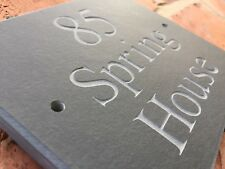 """Quality Rustic Riven Slate House sign plaque 6"""" x 5""""  ANY NAME / NUMBER!"""