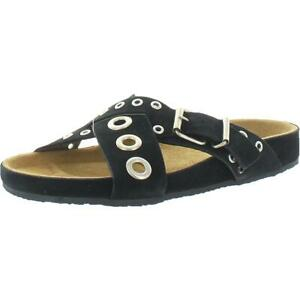 French Connection Womens Suede Eyelet Slip On Slide Sandals Shoes BHFO 8429
