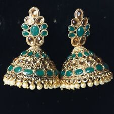 Pakistani Green Golden Jhumka Earings Jewellery, Indian Jhumki Earrings Jewelry