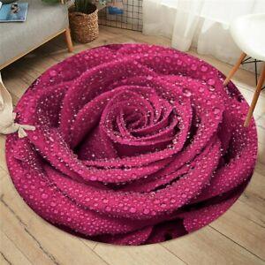 3D Red Rose Summer Flower Floral Round Rug Carpet Mat Living Room Bedroom