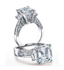3.84Ct 3 stone Emerald Cut & Baguette  Diamond Engagement Ring I, VVS2 (EGL USA)