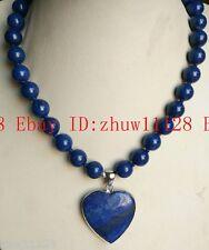"New 10mm Egyptian Lapis Lazuli Gemstone Beads Heart Pendant Necklace 18"" AAA"