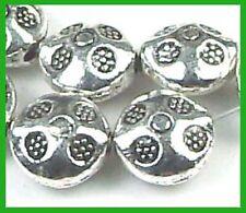 20 Silver Pewter Thai Karen Style Imprint Lentil Beads