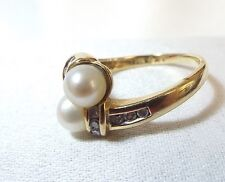 Modern Look on this Solid Gold  Double Pearl Ring w/ Diamonds