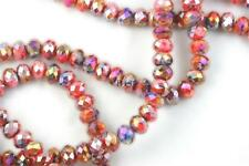 "16"" Str. 8mm Chinese Crystal Glass Beads Faceted Rondelle Red Blue Mixed Agates"