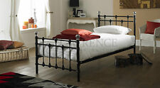 Oxford Single 3ft Black Metal Bed + Quilted Mattress