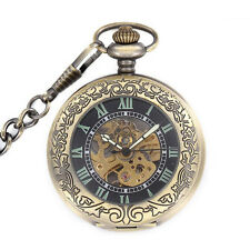 New Design Carved Retro Mechanical Automatic Necklace Chain Pocket Watch