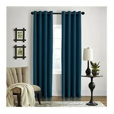 "Veratex Gotham Linen Window Curtains Panels 96"" Grommet Sheer Blue Teal Modern"