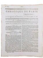 Chronique de Paris 1792 Condorcet David Hume Rare Journal Révolution Française