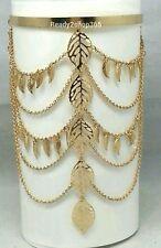 Leaf Gold Bangle Armlet Armband Bracelet Tassel Harness Chain Upper Cuff Women