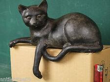 Figur schöne Katze Katzenfigur Kantensitzer in schwarz antikisiert Antik-Stil