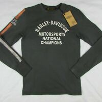 Harley Davidson Men's Motorsports Dark Gray Long Sleeve Shirt Sz Small 96034