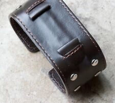 Wide top studded leather cuff type watch band for 18mm lugs steel insert inside