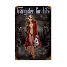 """GANGSTER FOR LIFE PINUP GIRL METAL SIGN 12"""" X 18"""" MAN CAVE DECOR"""