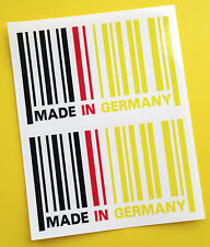 Hecho En Alemania Bandera Barcode Sticker Decal X2 Bmw Audi Mercedes Drift Porsche