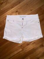 Denizen From Levis Women's Shorts White Denim Jeans Cuffed Cotton Summer Sz 2