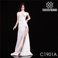 WOOM TOYS 1/6 Scale White Long Dress High-slit Evening Dress Set Skirt Clothing