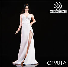 WOOM TOYS 1/6 Scale White Long Dress High-slit Evening Dress Set Skirt Clothing