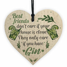 Handmade Gin & Tonic Novelty Wood Heart Friendship Gin Gift Funny Alcohol Sign