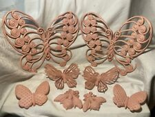 8 Piece Vtg Home Interior Burwood Pink Butterfly & Bees Wall Plaque Set