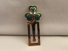 Vintage Gold Green Shamrock Clover Clip Bookmark