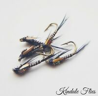 J/C Red Holo Quill Diawl Bachs size 14 (Set of 3) Fly Fishing Straight DB