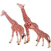 3 Pcs High Simulation Giraffe Animal Figure for Giraffe Fans Collection