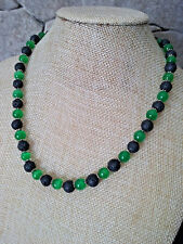 """18"""" HANDMADE SILVER PLATED green CATS EYE & BLACK LAVA NECKLACE"""
