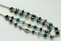 Aurora Borealis Faceted Mixed Glass Bead & Cabochon 2-Strand Necklace
