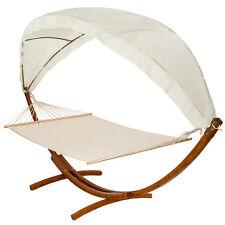 400 CM Hängematte Mit Gestell Holz + Dach Gartenliege Sonnenliege  Gartenmöbel Ne