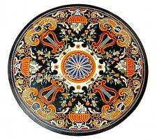 48 Inches Black Marble Office Table Top Round Utility Table with Pietra Dura Art