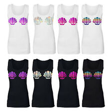 Mermaid Holographic Rainbow Shell Sleeveless Black White Tank Vest Top Ariel