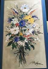 Beautiful Wild Flowers Silkscreen Watercolor Print  John Haymson Listed Artist