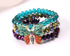 Green and Purple beaded Bracelet with Butterfly
