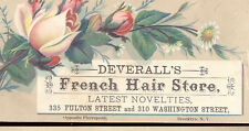 4 BROOKLYN TRADE CARDS, DEVERALL'S FRENCH HAIR STORE, 310 WASH, & 335 FULTON Z96
