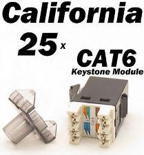 25 X Pcs Keystone 8P8C CAT6 RJ45 Network 110 Style Socket Punch Down Jack Black