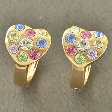 WOMENS Multi Colour CRYSTAL 9K Solid Gold Filled Heart Hoop Earrings Huggie