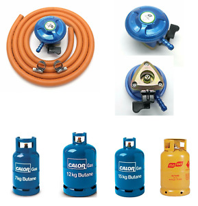 Butane Gas Regulator 2 Meter Hose And Clips Fits Blue cylinders with 21mm valve