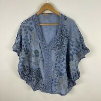 Felicita Italy Womens Top Free Size Blue Floral Kaftan Short Sleeve V-Neck