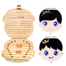 Baby Tooth Box Deciduous Teeth Keepsake Saver Fairy Holder Wooden First Boy Gift