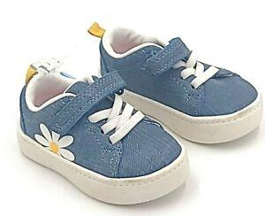 Carters Shoes Girls Size US 4M EUR 19  Petra Blue Denim Daisy Design CS21H09H