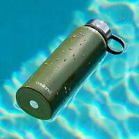 Green Water Bottle Flask 32oz Vacuum Stainless Steel Fitness Health WELLAND