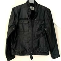 Mens Levis Bomber Cotton Nylon Jacket Black Full Zip Snap Size Large