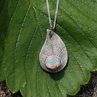 Opal Necklace Fine Silver Raw Opal Pendant Raw Stone Unique Necklace UK HANDMADE