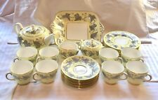 Wedgwood Queensware Josephine Yellow Gray Ivy Complete Tea Set For 8 Perfect!