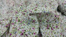 "white poly cotton with beautiful small purple flowers print fabric 44""wide NEW"