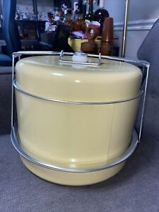 Vintage Covered Cake Carrier Dessert Tray 3 Tiers Metal Yellow