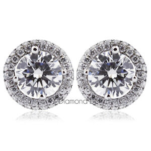 3.53CT Total G SI1 Round Cut Natural Certified Diamonds 18K Gold Halo Earrings