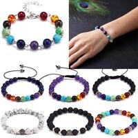Fashion Handmade Adjustable Men Women 7 Chakra Bead Bracelet Bangle Jewelry Gift